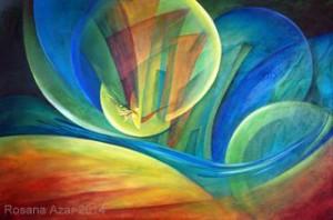 "Rosana Azar ""Bubbling Entrance"" 2014. Acrylic, 24"" x 36"""