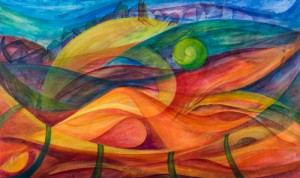 "Rosana Azar ""Evolution"" 2008 One of her largest paintings, in mixed media on canvas, 36"" x 60"""
