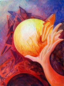 """Rosana Azar """"Holding the Light"""" 2012 in  acrylic, 16"""" x 12"""""""