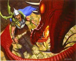 "Fred Gambino ""Guards, Guards!"" Terry Pratchett 2003 Calendar illustration, Gollancz Pub.  Acrylic, 20"" x 16"" available"