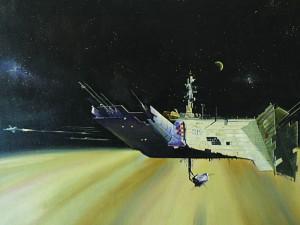 "Fred Gambino ""Spacewreck: Ghostships and Derelicts of Space (TTA Handbook) Interior, Hamlyn, 1979 Oil on canvas 16"" x 30"""