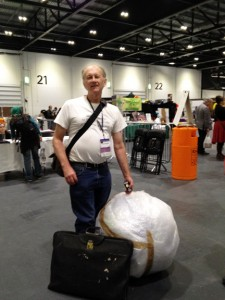 "David Angus, Planetary Modeller extraordinaire, with his ""Exoearth"" planet wrapped and ready to be rolled home"
