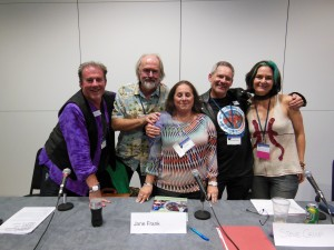 Good friends all! From L to R: Danny Flynn, Chris Moore, Jane Frank, Steve Crisp, Galen Dara at LonCon3 (photo by Patrick Lee)