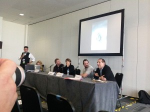 """Manzieri_Panel.jpg (from the left, Panel: """"Book Covers: The Good, The Bad and The Ugly"""" with John Picacio, Greg Manchess, Irene Gallo, Joe Abercrombie and Maurizio Manzieri)"""