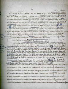 Page from the first draft of 1984 by Orson Wells.