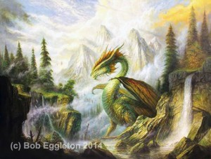 "For IX7, Bob Eggleton's ""The Dragon Spring""  30"" x 40"" oils on canvas mounted on panel. ""One of a new direction of ""epics"" to come....."" says Bob"