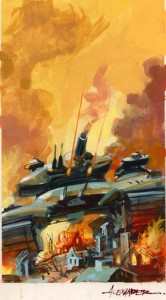 """color prelim for Keith Laumer's """"Bolo's Last Stand"""" published by Baen, 2002 - the final art for this one was featured Spectrum 4"""