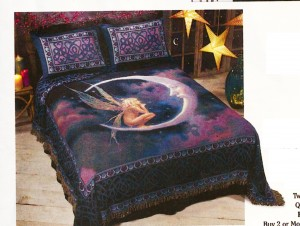 "David Delamare's ""Fairy on the Moon"" bedspread (and matching sham) for The Pyramid Collection, 2014 catalog"