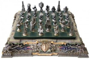 Official Lord of the Rings Chess Set designed by Stephen Hickman for the Franklin Mint, 2003