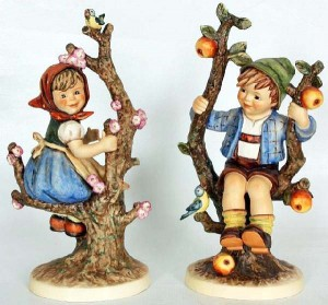 """Hummels: """"Apple Tree Girl and Boy""""  Cute yesterday, Kitschy today"""