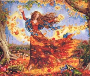 "Ruth Sanderson's ""Gold Fairy"" in the form of a Dimensions Gold Collection Counted Cross Stitch Kit."