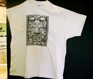 "Ron Walotsky's ""Green Man"" tee-shirt, reproducing his cover art for ""Benedictions of Pan"" 1993"
