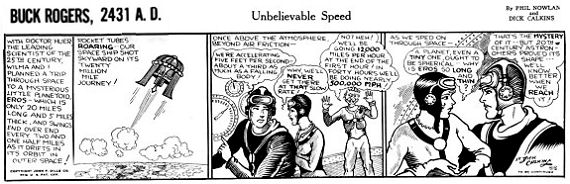 Figure 4 - An early Philip Knowlan and DIck Calkins Buck Rogers daily strip