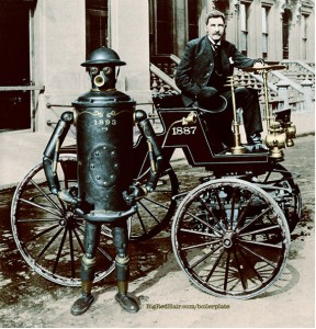 Boilerplate with creator Campion in motorcar - Chicago 1893