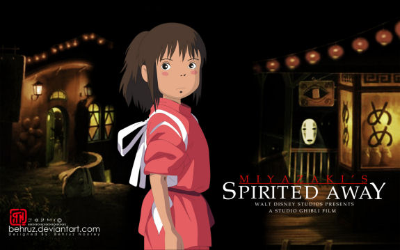 Figure 4 - Spirited Away wallpaper by Behruz Noorey featuring Chihiro and No-Face