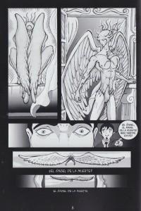 El ángel de la muerte en la pág. 8 de la novela Angelus Hostis de Sanrtiago Páez y Rafael Carrasco.