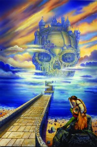 """Ron Walotsky """"Island in the Lake"""" F&SF cover, 1998"""