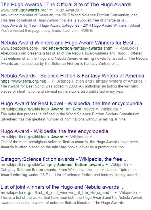 "Google search for ""Award winning Sci Fi"""
