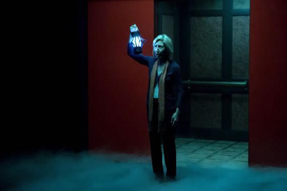 Figure 6 - Elise near further elevator with LED lantern
