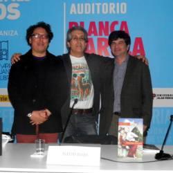 """David Roas, Elton Honores y José Güich en la presentación de """"Bienvenidos a Incaland"""""""