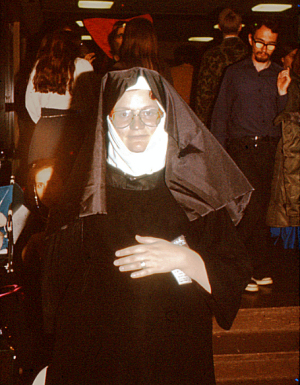 Figure 2 - Starshadow as Vaughn Bodé pregnant nun, Westercon XXX