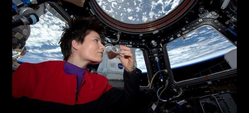 Italian astronaut Samantha Cristoforetti sips espresso