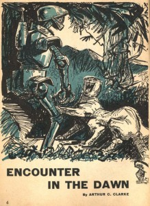 Encounter in the Dawn from Amazing Stories June-July 1953 interior art (uncredited)