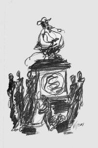 """Una de las ilustraciones de la novela de Alfonso Barrera Valverde, """"Sancho Panza en América o la eternidad despedazada"""", obra del maestro ecuatoriano Oswaldo Viteri."""