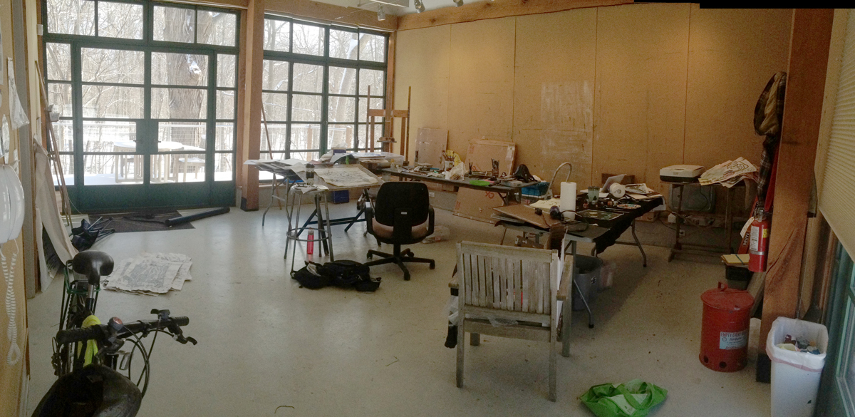 Panorama of the studio, partly filled with my stuff. Panorama-style shot, so the distortion makes it appear bigger than it actually is.