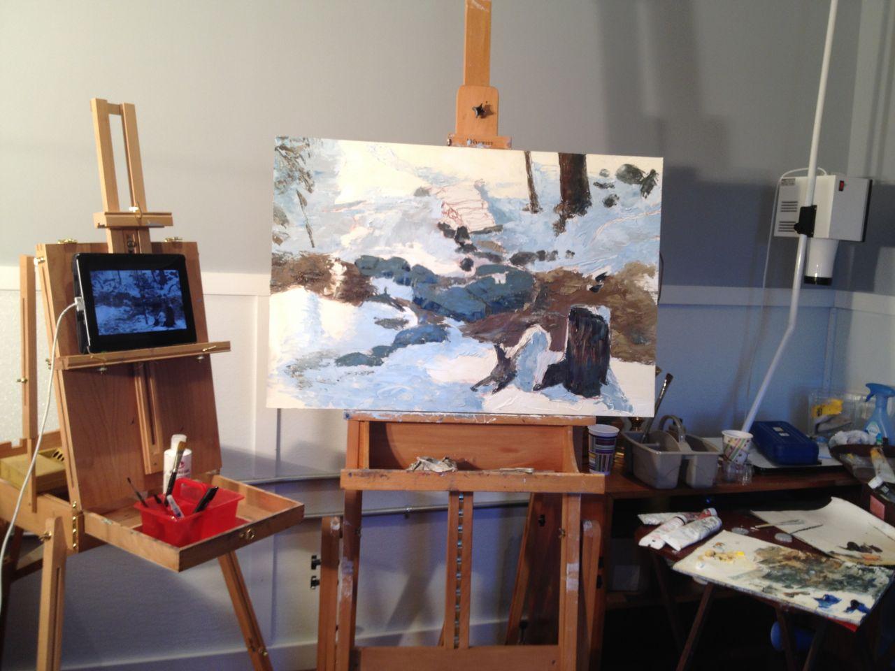 Oil painting setup