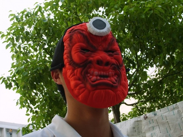 A ghost mask created for the haunted house