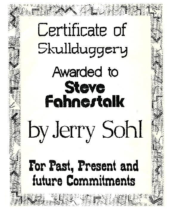 Figure 4 - Sohl - Skullduggery certificate