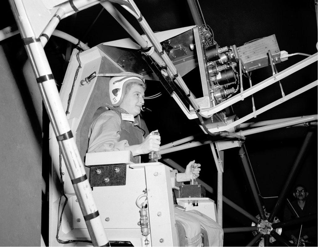 Aviator Jerrie Cobb in a flight simulator