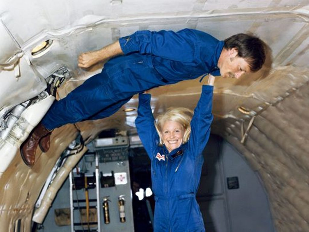 "Rhea Seddon and husband Hoot Gibson in NASA ""Vomit Comet"" Aircraft"