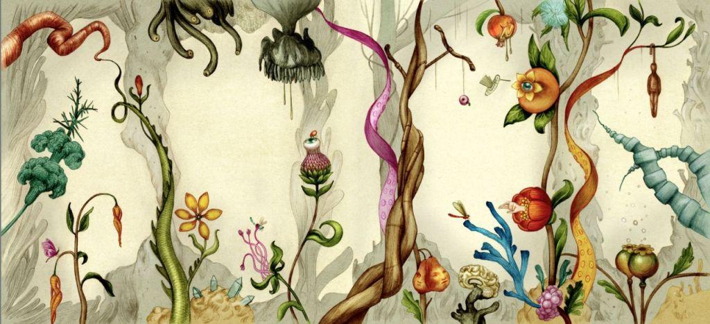 Jonathan Burton's art for the cover of Improbable Botany