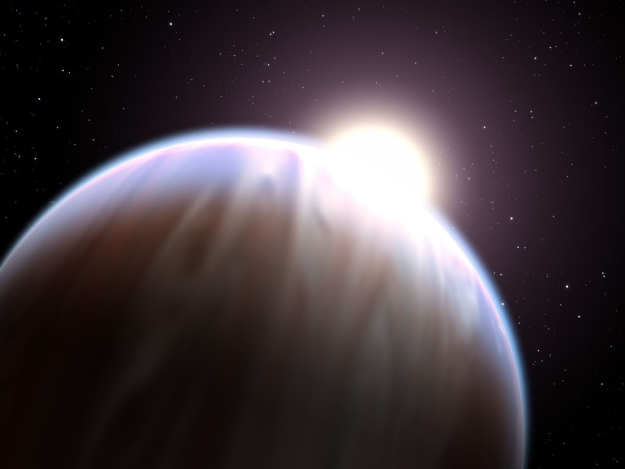 "An artist's impression of a ""hot Jupiter,"" a gauzy color-streaked planet with a star peeking up behind it. Exoplanets like these can, surprisingly, be modeled by those that simulate car engines."