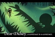 An image of a large cartoon character about to clomp down on a writer. Text: Dear Mickey, a contract is a contract.